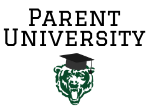 the words Parent University in black above a green bear logo wearing a graduation cap