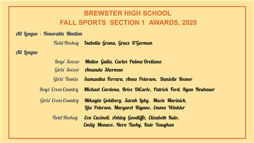 List of Section 1 Fall Sports Award winners