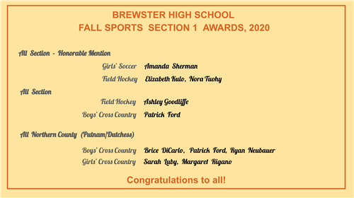 List of Section 1 Fall Sports Awards winners
