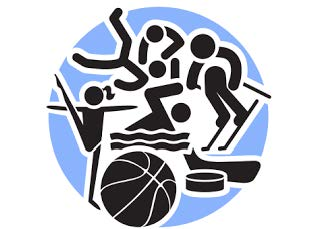 Drawing of various winter sports such as skiing, wrestling, basketball