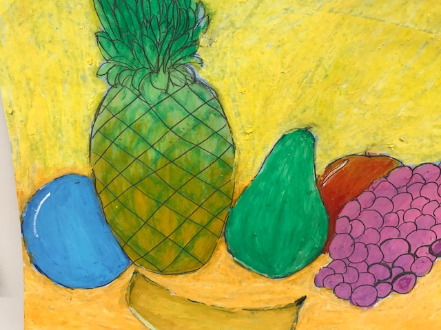 Still life of fruit (pineapple, pear, apple, grapes)