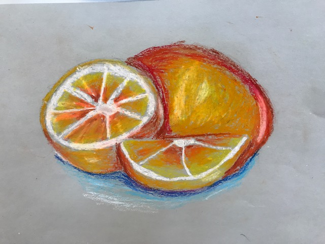 Still life of a sliced orange
