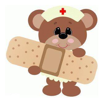 Drawing of a cute bear wearing a nurse's cap and holding a giant bandaid