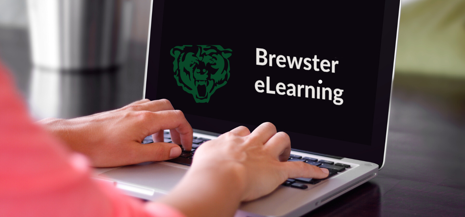 Hands typing on chromebook with the words Brewster eLearning appearing on the screen.