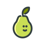 Drawing of a green pear with a smilie face on it.