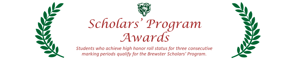 Scholars Program Awards title with olive leaf border and brewster bear logo