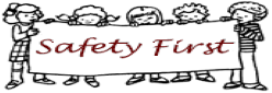 Clipart of students holding a sign that says Safety First